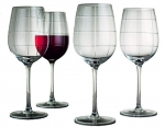 Durable Set of 4 Large 15.2-oz Red Wine Square Cut Stem Glasses - Home & Party Drinking Glassware 4-pc Wine Goblets Set