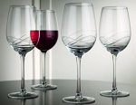 Durable Set of 4 Large 15.2-oz Red Wine Bangled Cut Stem Glasses - Home & Party Drinking Glassware 4-pc Wine Goblets Set