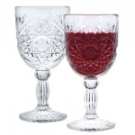 Heavy Glass Goblet (Crystal Style Cut) 7 tall