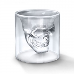 Topicker Hand Blown Crystal Clear Borosilicate Glass Crystal Skull Shotglass