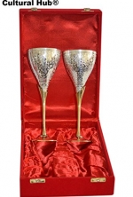 JK-690-0367 Set of 2 Exclusive Silver Plated Engraved Metal Brass Wine Goblets, Flutes, Champagne Flutes, Wine cups, Cordial Glasses, Brass Wine cups, Gift Set, Embossed Brass Goblet, Beautiful Shiny Red Velvet Box with Satin Cloth interior, Solid Materia