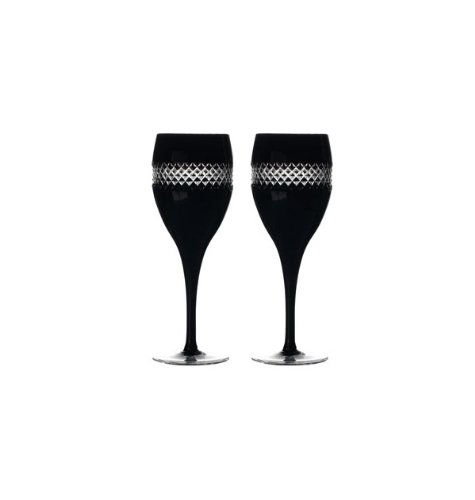 Black cut waterford red wine pair waterford waterford - Waterford colored wine glasses ...