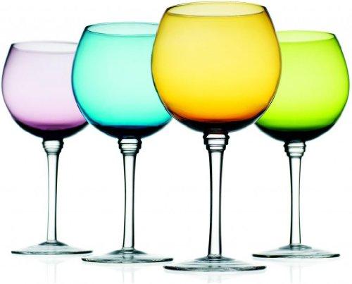 Attractive Set Of Four 4 Unique Colored Wine Glasses 16