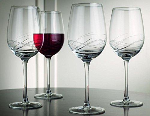 Durable Set Of 4 Large 15 2 Oz Red Wine Bangled Cut Stem